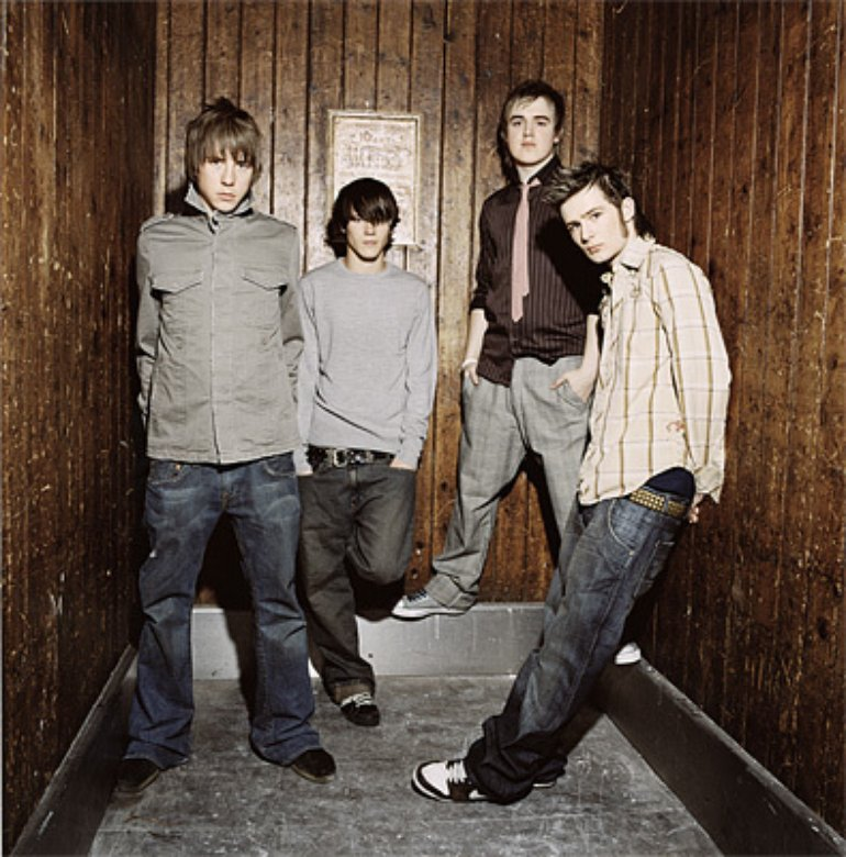 McFly (l-r: Danny, Douggie, Tom & Harry) 2007 calender shoot.
