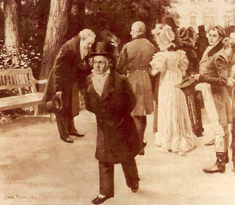 Johann Wolfgang Goethe und Ludwig van Beethoven bei einem Treffen von 1812.png