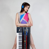 Patricia Hall (Soft Metals) with her Roland Juno-60
