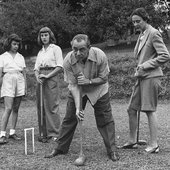 Rodgers playing croquet