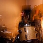Dan drumming at the Boots single launch courtesy of Andy Brown