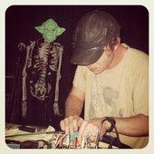 Eric Copeland and skeleton Yoda.