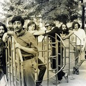 Publicity photo of the Fugs in a Greenwich Village park in the summer of 1966.