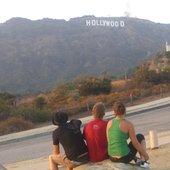 enjoying the hollywood sign