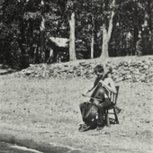 Arthur Russell playing the cello on a beach in Minnesota, c. September 1971