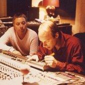 Harold Budd and Brian Eno in studio