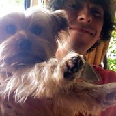 Dhani with dog