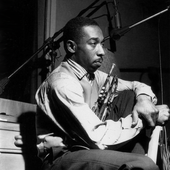 """Blue Mitchell during """"Horace Silver's Finger Poppin' session"""", Hackensack NJ, February 1, 1959 - Photo Francis Wolff"""