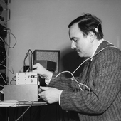 """Alvin Lucier rehearsing \""""Music for Solo Performer\"""" (1965) at Brandeis University, Waltham, MA, March 6, 1967"""