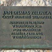 Jan Dismas Zelenka memorial plaque in Louňovice po Blaníkem, Czechia.