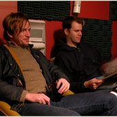 Jonothan Ford and Dan listening to takes for Night Mute in Portland