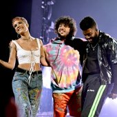 Halsey, Benny Blanco & Khalid onstage at the AMAs