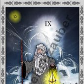 Der Eremit - The Hermit, One card of the Tarot-Deck. made by Weltenzauber.