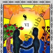 Die Liebenden - The Lovers,  One card of the Tarot-Deck. made by Weltenzauber.