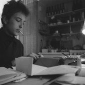 Bob Dylan at a typewriter