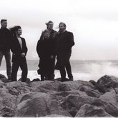 The six (count' em) members of the Galahad Acoustic Quintet, 1994.  L to R: Nob, Scrote, L'il Mark, Sarah, Big One, Stu