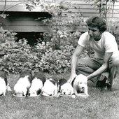 Tilson Thomas feeding puppies