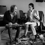 Nick Cave and Warren Ellis working on the  Carnage album