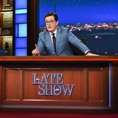 Colbert at Late Show desk