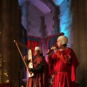 Medieval minstrels on harp and recorder