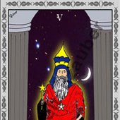 Der Hohepriester - The Hierophant, One card of the Tarot-Deck. made by Weltenzauber.