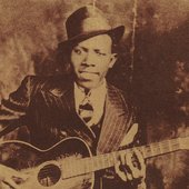 "Robert Johnson, from the cover of ""The Centennial Collection"""